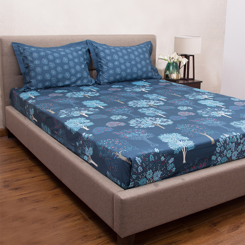 Acadia Blue 100 Cotton King Size Bed Sheet With 2 Pillow Covers